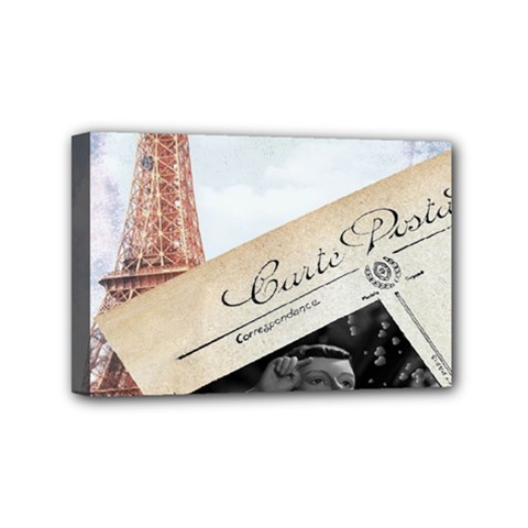French Postcard Vintage Paris Eiffel Tower Mini Canvas 6  X 4  (framed)