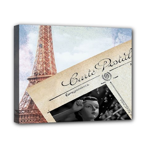 French Postcard Vintage Paris Eiffel Tower Canvas 10  x 8  (Framed)