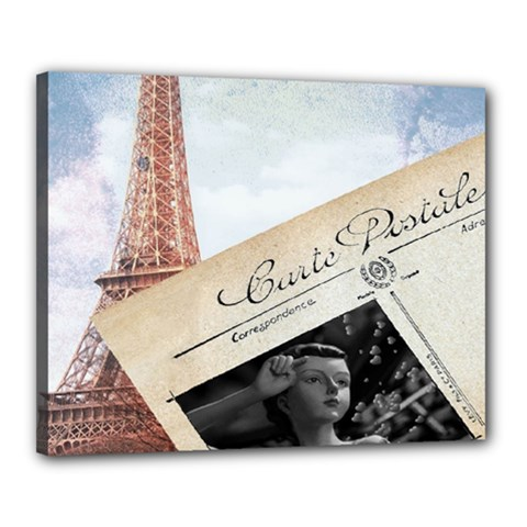 French Postcard Vintage Paris Eiffel Tower Canvas 20  x 16  (Framed)