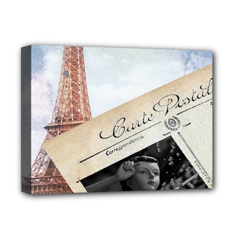 French Postcard Vintage Paris Eiffel Tower Deluxe Canvas 16  X 12  (framed)
