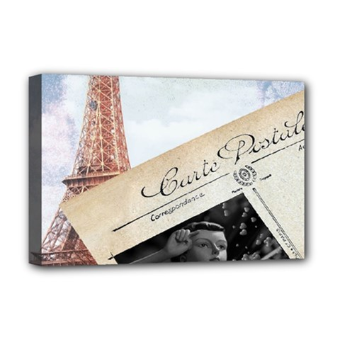 French Postcard Vintage Paris Eiffel Tower Deluxe Canvas 18  X 12  (framed)