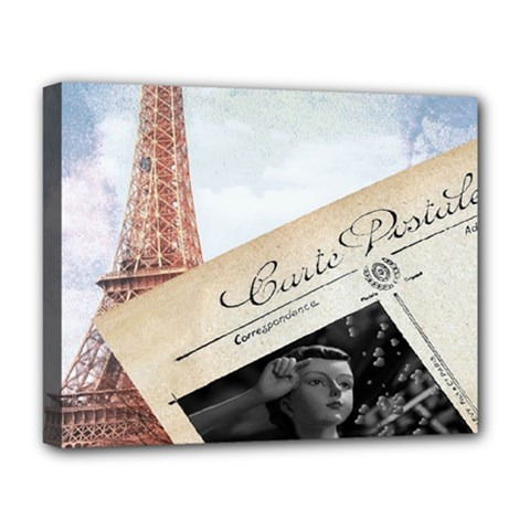 French Postcard Vintage Paris Eiffel Tower Deluxe Canvas 20  X 16  (framed)