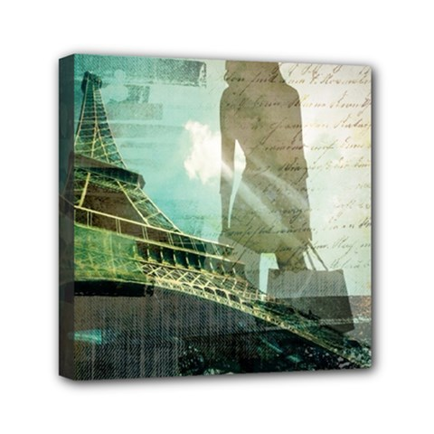 Modern Shopaholic Girl  Paris Eiffel Tower Art  Mini Canvas 6  X 6  (framed)