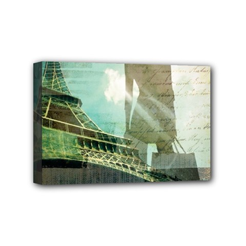 Modern Shopaholic Girl  Paris Eiffel Tower Art  Mini Canvas 6  x 4  (Framed)
