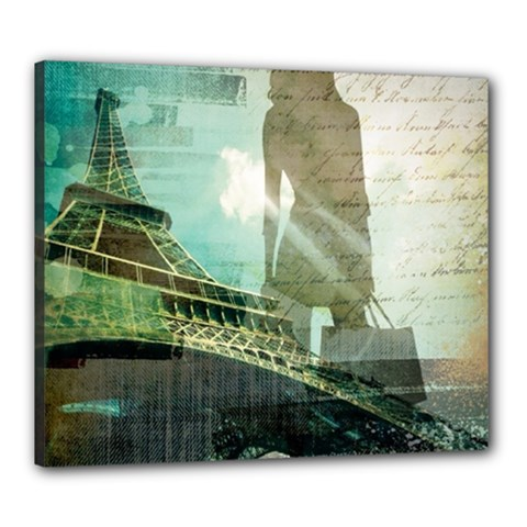 Modern Shopaholic Girl  Paris Eiffel Tower Art  Canvas 24  x 20  (Framed)