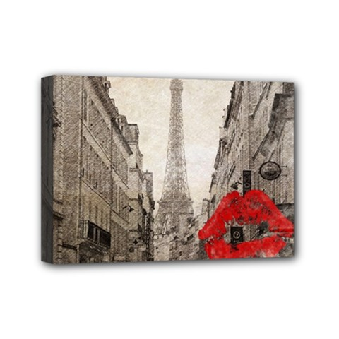 Elegant Red Kiss Love Paris Eiffel Tower Mini Canvas 7  x 5  (Framed)