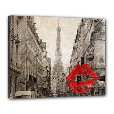 Elegant Red Kiss Love Paris Eiffel Tower Canvas 20  x 16  (Framed)