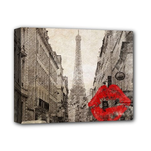 Elegant Red Kiss Love Paris Eiffel Tower Deluxe Canvas 14  x 11  (Framed)