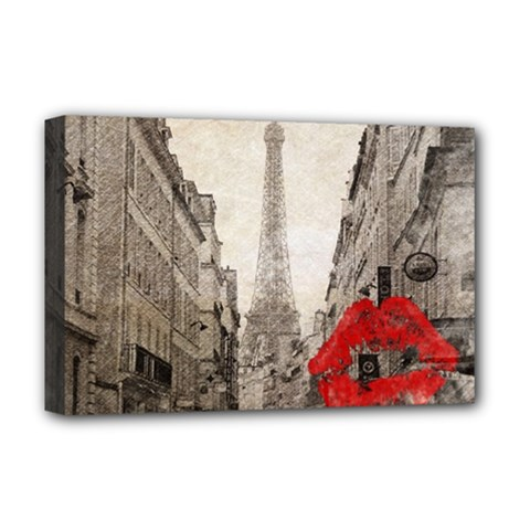 Elegant Red Kiss Love Paris Eiffel Tower Deluxe Canvas 18  x 12  (Framed)