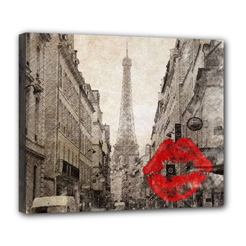 Elegant Red Kiss Love Paris Eiffel Tower Deluxe Canvas 24  X 20  (framed)