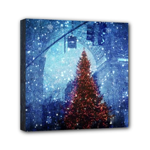 Elegant Winter Snow Flakes Gate Of Victory Paris France Mini Canvas 6  x 6  (Framed)
