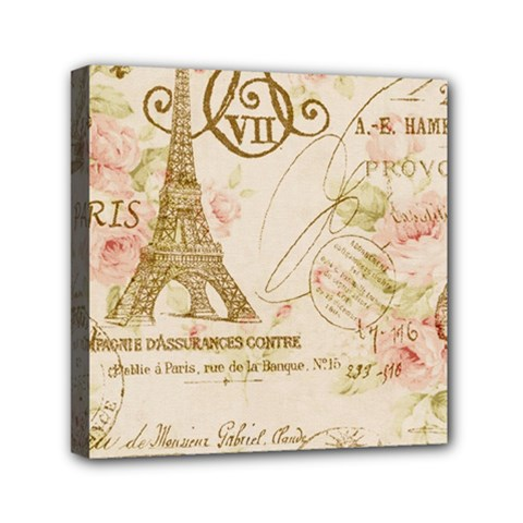 Floral Eiffel Tower Vintage French Paris Art Mini Canvas 6  X 6  (framed)