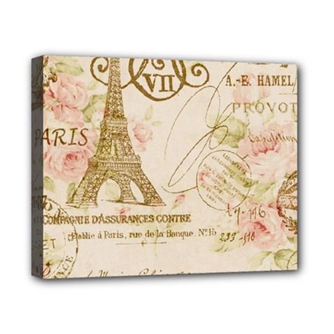 Floral Eiffel Tower Vintage French Paris Art Canvas 10  x 8  (Framed)