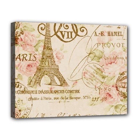 Floral Eiffel Tower Vintage French Paris Art Canvas 14  x 11  (Framed)