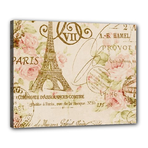 Floral Eiffel Tower Vintage French Paris Art Canvas 20  x 16  (Framed)