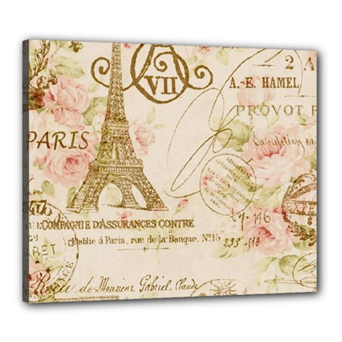 Floral Eiffel Tower Vintage French Paris Art Canvas 24  X 20  (framed)