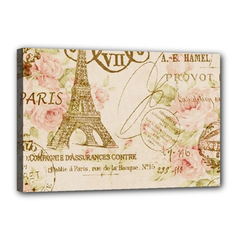 Floral Eiffel Tower Vintage French Paris Art Canvas 18  x 12  (Framed)