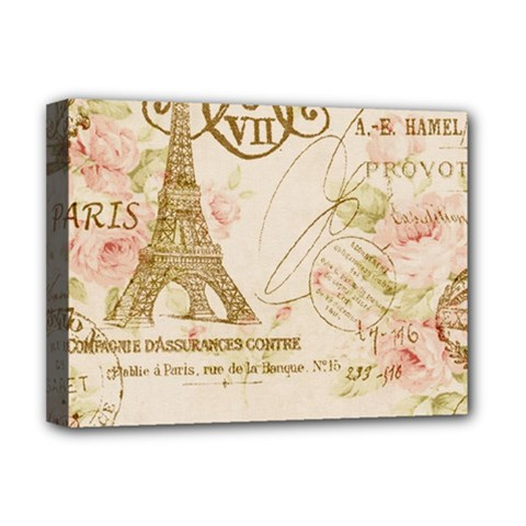 Floral Eiffel Tower Vintage French Paris Art Deluxe Canvas 16  x 12  (Framed)