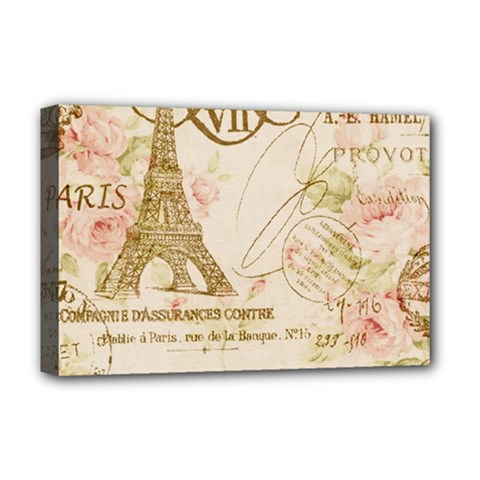 Floral Eiffel Tower Vintage French Paris Art Deluxe Canvas 18  x 12  (Framed)