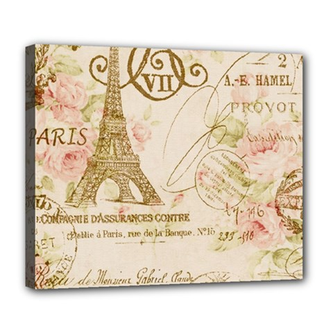 Floral Eiffel Tower Vintage French Paris Art Deluxe Canvas 24  X 20  (framed)