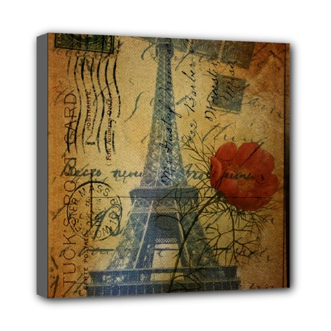 Vintage Stamps Postage Poppy Flower Floral Eiffel Tower Vintage Paris Mini Canvas 8  X 8  (framed)