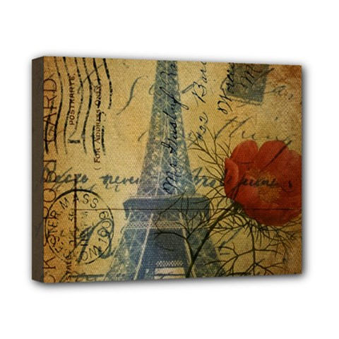 Vintage Stamps Postage Poppy Flower Floral Eiffel Tower Vintage Paris Canvas 10  x 8  (Framed)