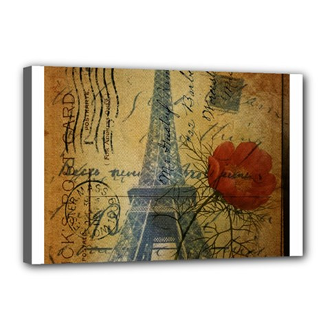 Vintage Stamps Postage Poppy Flower Floral Eiffel Tower Vintage Paris Canvas 18  x 12  (Framed)