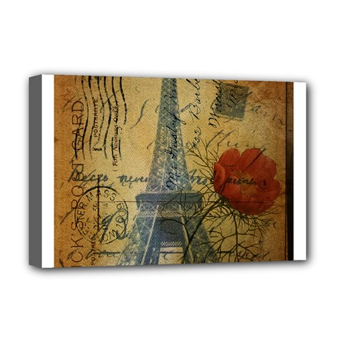 Vintage Stamps Postage Poppy Flower Floral Eiffel Tower Vintage Paris Deluxe Canvas 18  X 12  (framed)