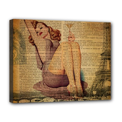 Vintage Newspaper Print Pin Up Girl Paris Eiffel Tower Canvas 14  X 11  (framed)