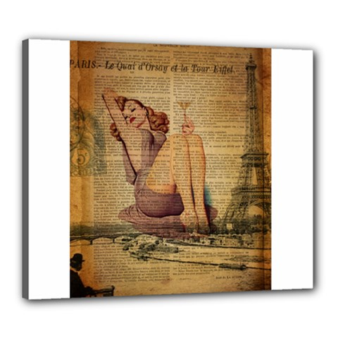 Vintage Newspaper Print Pin Up Girl Paris Eiffel Tower Canvas 24  x 20  (Framed)