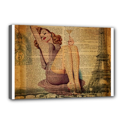Vintage Newspaper Print Pin Up Girl Paris Eiffel Tower Canvas 18  X 12  (framed)