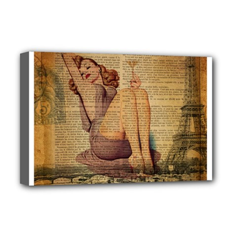 Vintage Newspaper Print Pin Up Girl Paris Eiffel Tower Deluxe Canvas 18  X 12  (framed)