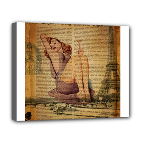 Vintage Newspaper Print Pin Up Girl Paris Eiffel Tower Deluxe Canvas 20  X 16  (framed)