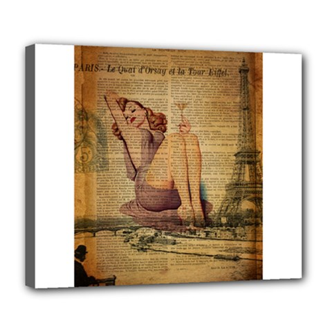 Vintage Newspaper Print Pin Up Girl Paris Eiffel Tower Deluxe Canvas 24  x 20  (Framed)