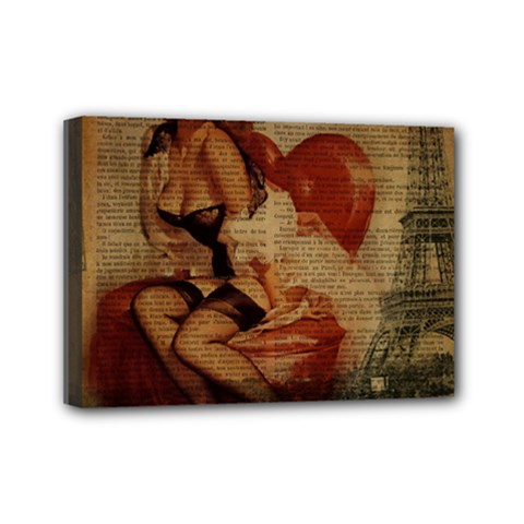 Vintage Newspaper Print Sexy Hot Gil Elvgren Pin Up Girl Paris Eiffel Tower Mini Canvas 7  x 5  (Framed)