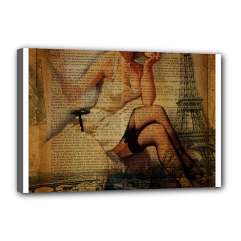 Vintage Newspaper Print Sexy Hot Gil Elvgren Pin Up Girl Paris Eiffel Tower Canvas 18  x 12  (Framed)