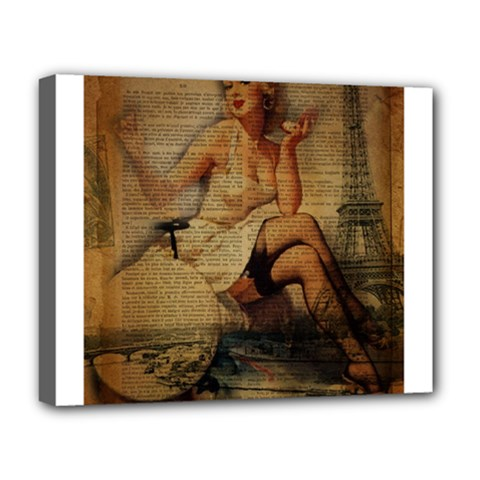 Vintage Newspaper Print Sexy Hot Gil Elvgren Pin Up Girl Paris Eiffel Tower Deluxe Canvas 20  X 16  (framed)