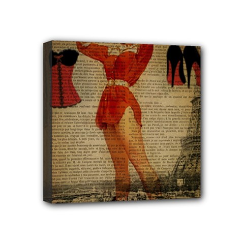 Vintage Newspaper Print Sexy Hot Gil Elvgren Pin Up Girl Paris Eiffel Tower Western Country Naughty  Mini Canvas 4  X 4  (framed)
