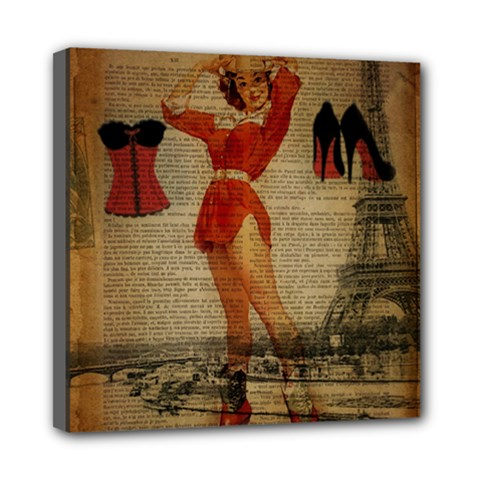 Vintage Newspaper Print Sexy Hot Gil Elvgren Pin Up Girl Paris Eiffel Tower Western Country Naughty  Mini Canvas 8  x 8  (Framed)