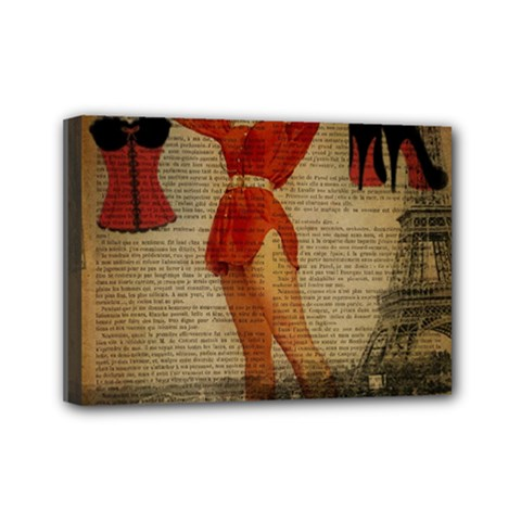 Vintage Newspaper Print Sexy Hot Gil Elvgren Pin Up Girl Paris Eiffel Tower Western Country Naughty  Mini Canvas 7  X 5  (framed)