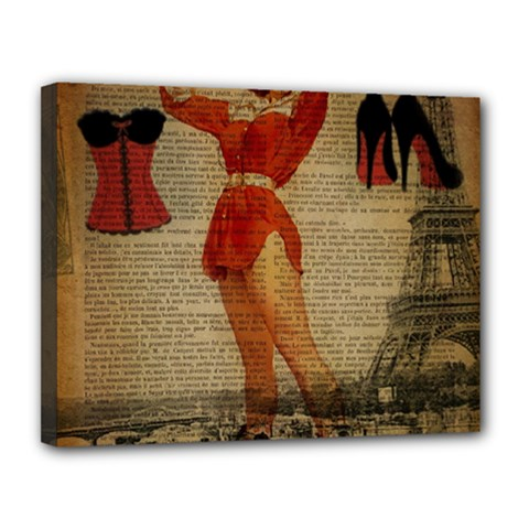 Vintage Newspaper Print Sexy Hot Gil Elvgren Pin Up Girl Paris Eiffel Tower Western Country Naughty  Canvas 14  X 11  (framed)