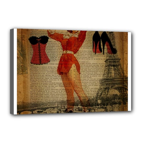 Vintage Newspaper Print Sexy Hot Gil Elvgren Pin Up Girl Paris Eiffel Tower Western Country Naughty  Canvas 18  x 12  (Framed)
