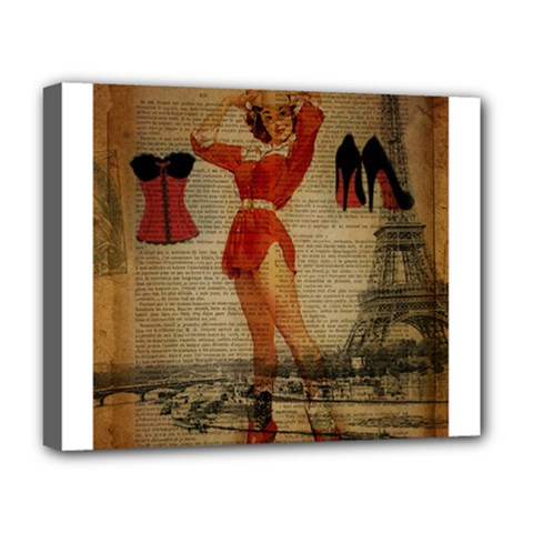 Vintage Newspaper Print Sexy Hot Gil Elvgren Pin Up Girl Paris Eiffel Tower Western Country Naughty  Deluxe Canvas 20  X 16  (framed)