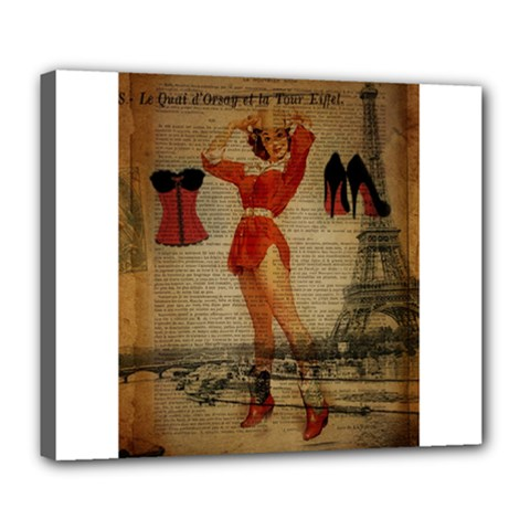 Vintage Newspaper Print Sexy Hot Gil Elvgren Pin Up Girl Paris Eiffel Tower Western Country Naughty  Deluxe Canvas 24  x 20  (Framed)