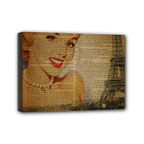 Yellow Dress Blonde Beauty   Mini Canvas 7  x 5  (Framed)