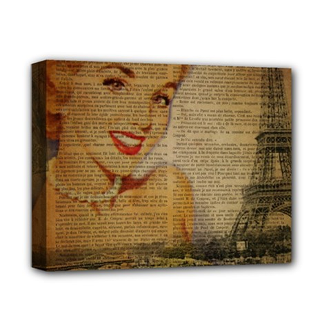 Yellow Dress Blonde Beauty   Deluxe Canvas 14  x 11  (Framed)