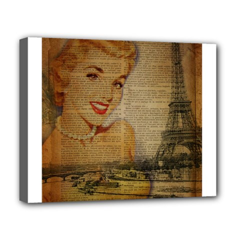 Yellow Dress Blonde Beauty   Deluxe Canvas 20  X 16  (framed)