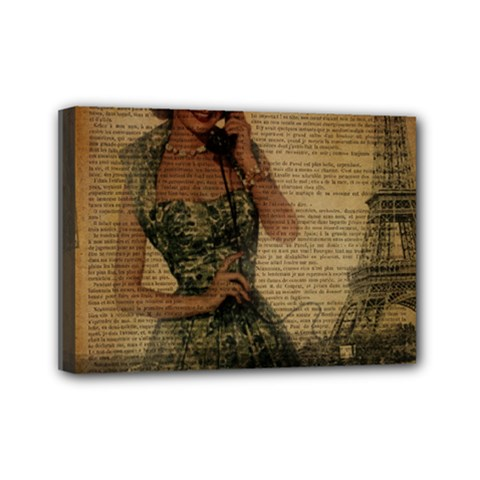 Retro Telephone Lady Vintage Newspaper Print Pin Up Girl Paris Eiffel Tower Mini Canvas 7  X 5  (framed)