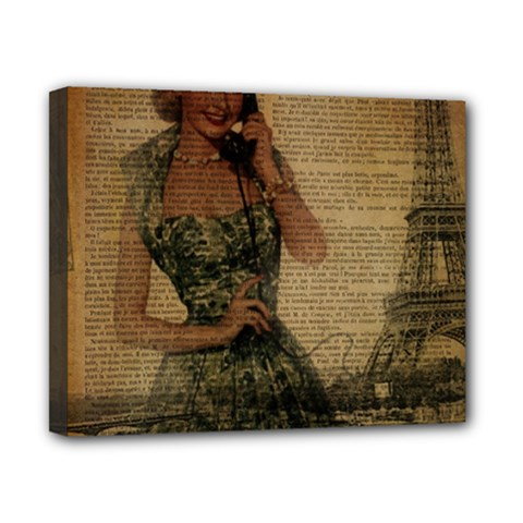 Retro Telephone Lady Vintage Newspaper Print Pin Up Girl Paris Eiffel Tower Canvas 10  x 8  (Framed)