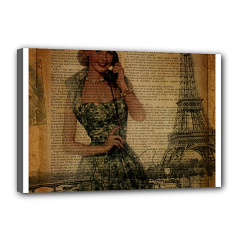 Retro Telephone Lady Vintage Newspaper Print Pin Up Girl Paris Eiffel Tower Canvas 18  x 12  (Framed)